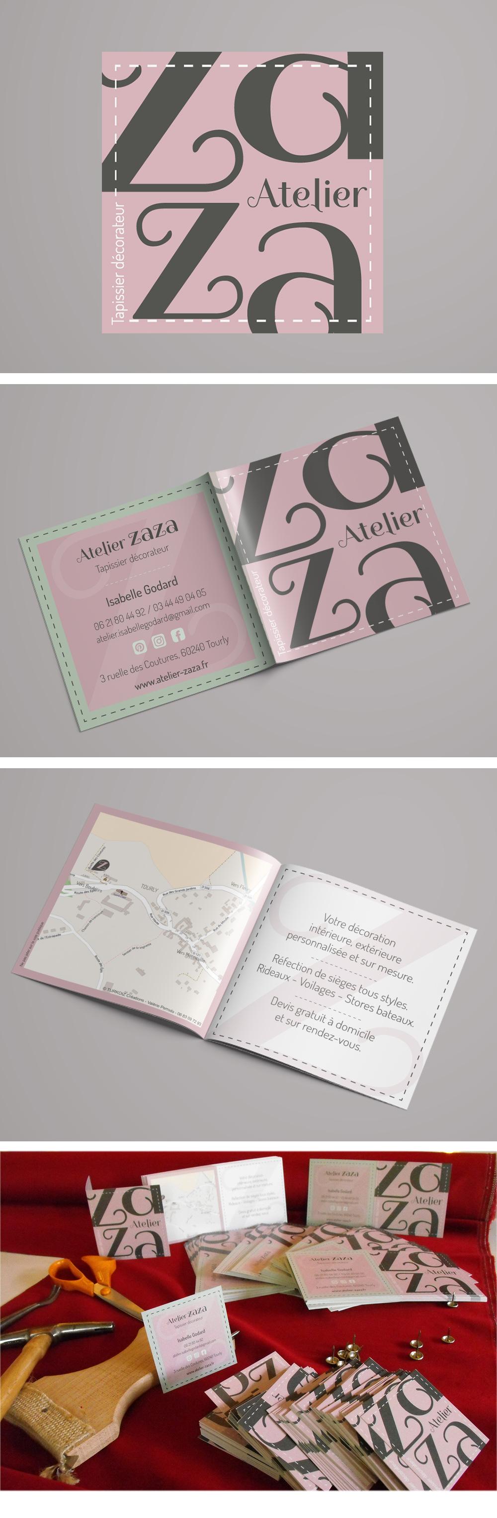 Identité visuelle - Atelier Zaza - Logo et carte de visite réalisés par Turkoiz Créations by Valérie Perrodo