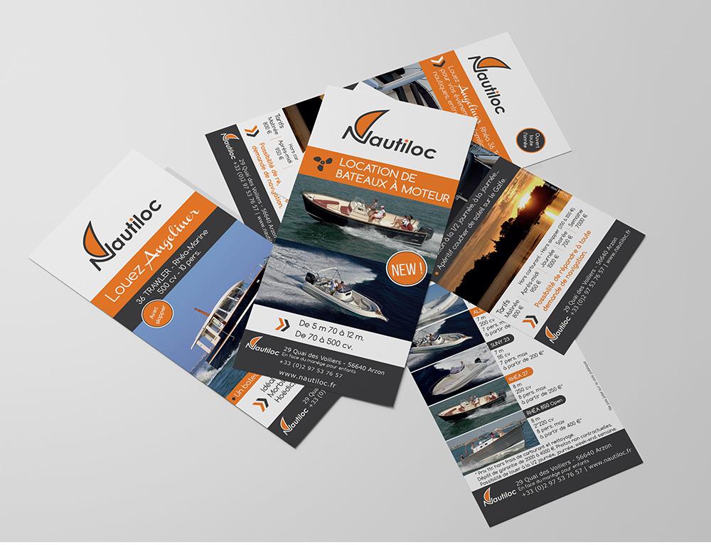 Création Graphique - Nautiloc Arzon - flyers recto/verso réalisés par Turkoiz Créations by Valérie Perrodo