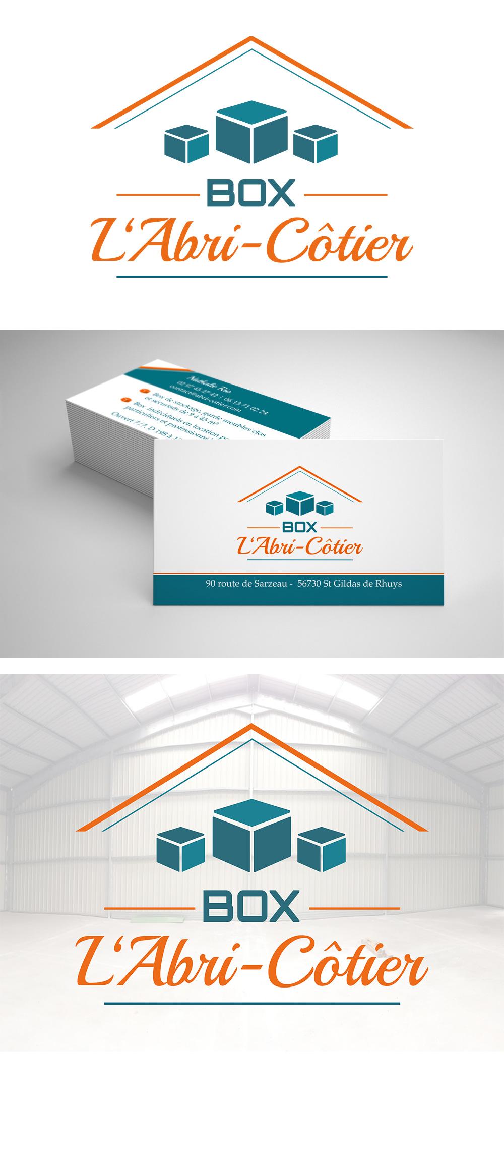 Identité visuelle - L'Abri Côtier - Location de Box à St Gildas - Logo et cartes de visite réalisés par Turkoiz Créations by Valérie Perrodo