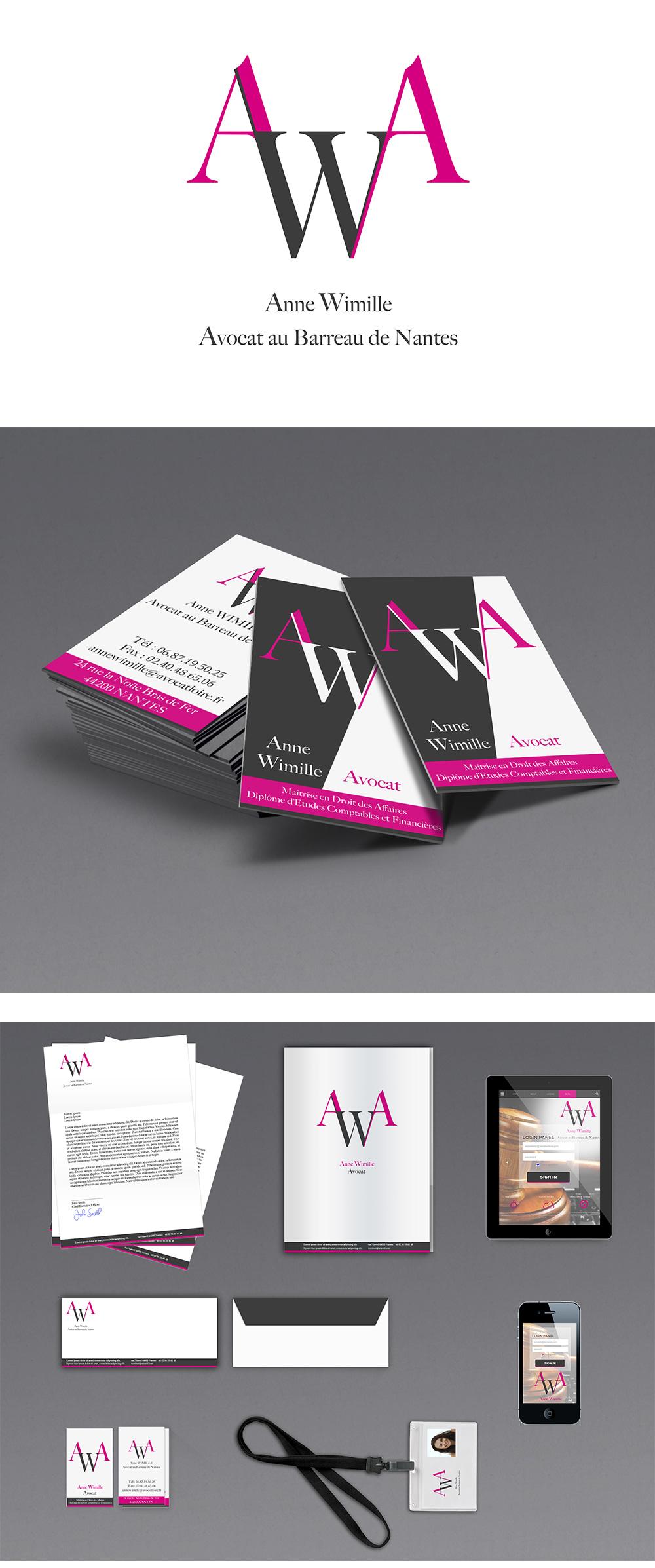 Identité visuelle - Anne Wimille Avocate Nantes - Logo et cartes de visite réalisés par Turkoiz Créations by Valérie Perrodo