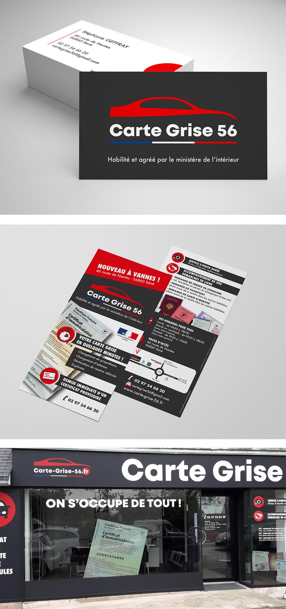 Identité visuelle - Carte Grise 56 Vannes - Logotype et flyer réalisés par Turkoiz Créations by Valérie Perrodo