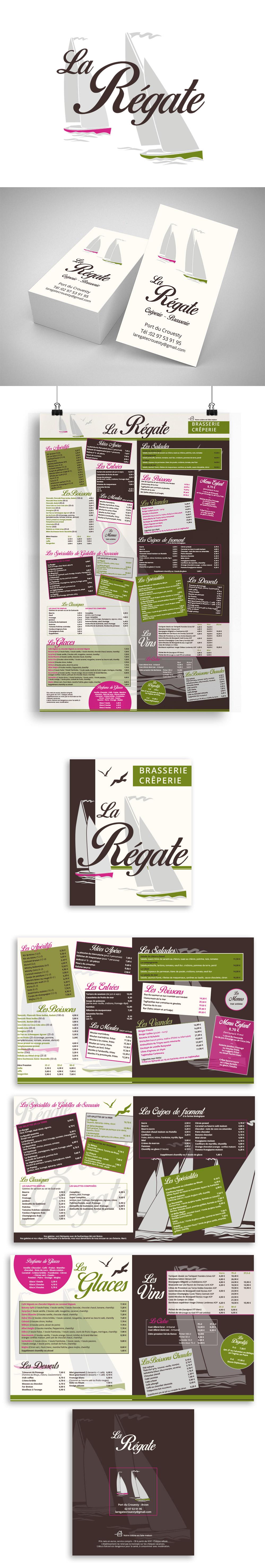 Création Graphique - La Régate - Identité visuelle et menus réalisés par Turkoiz Créations by Valérie Perrodo